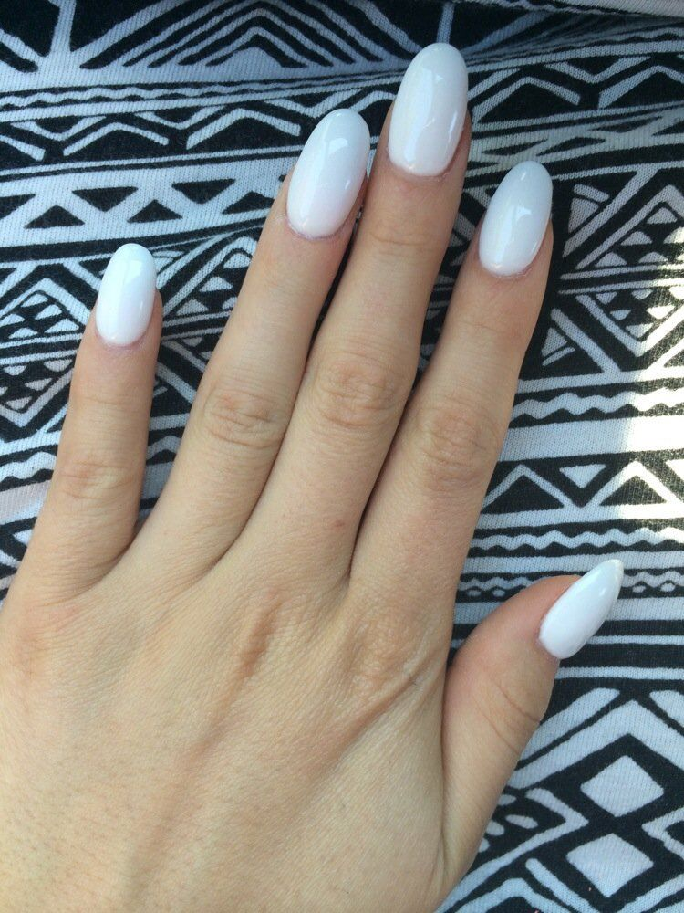 Cute White Oval Nails Diamond Nails Rounded Acrylic Nails Oval Acrylic Nails