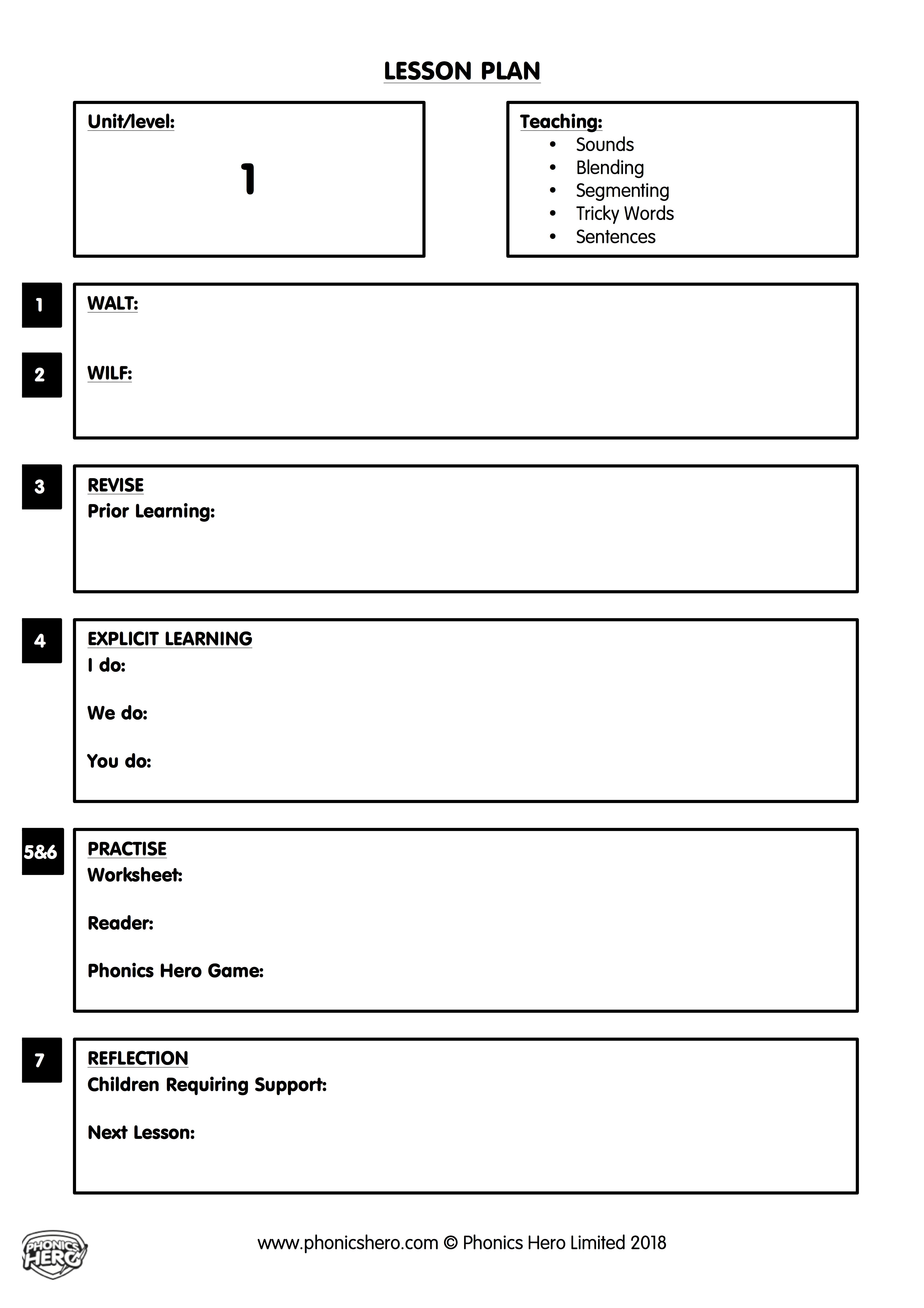 Phonics Lesson Word Template