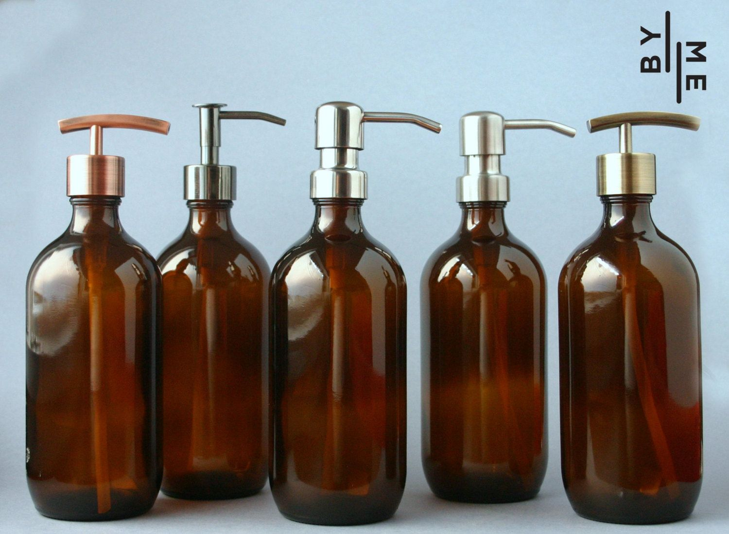 Amber Gl Bottle Soap Dispenser With Metal Pump And By Bymehome