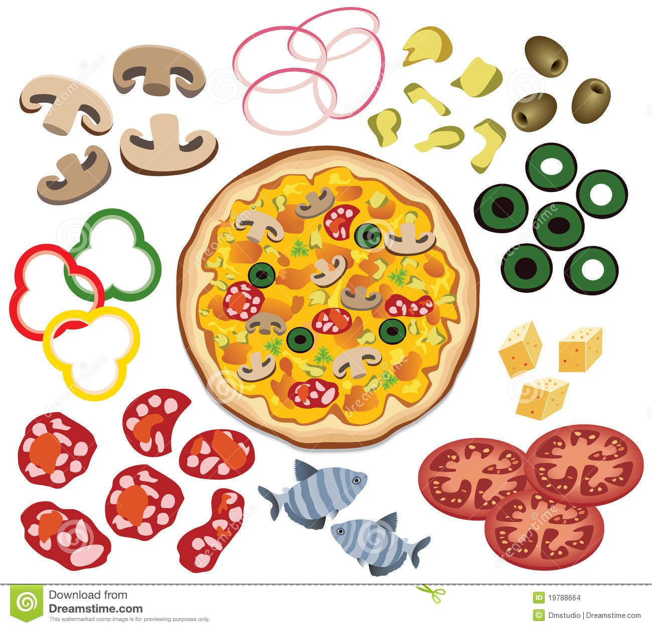 Pizza printable. Photo about vector and