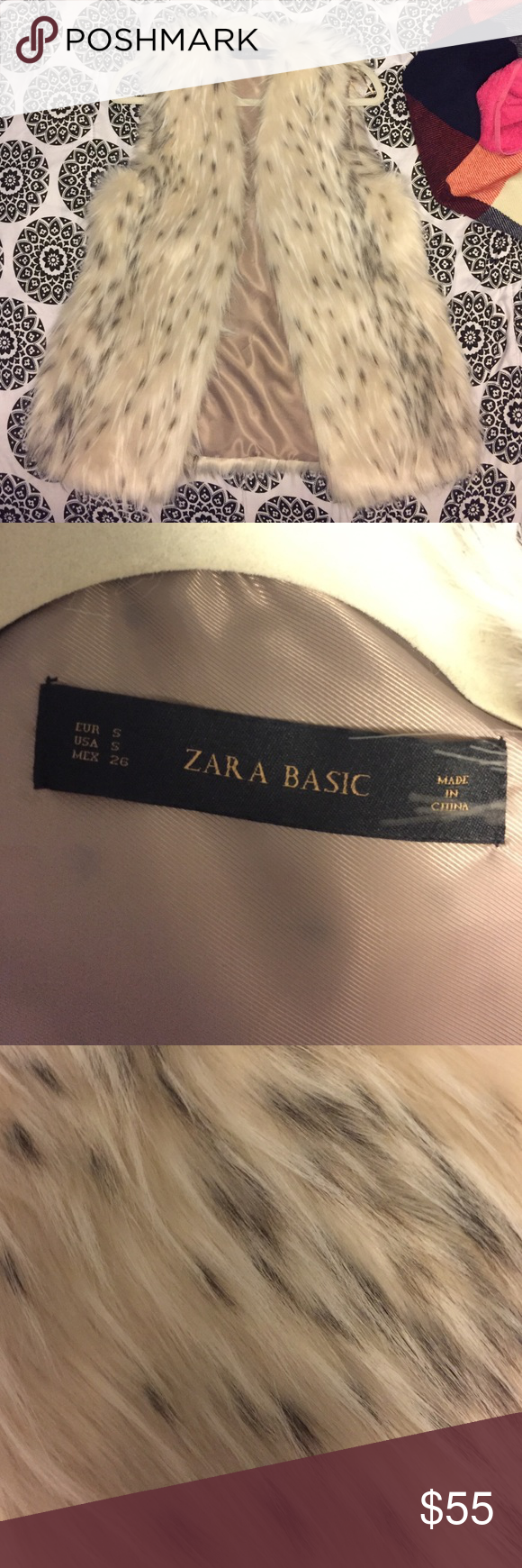 Zara Fur Vest Brand New , Worn Once. Zara Vest! Zara Jackets & Coats Vests