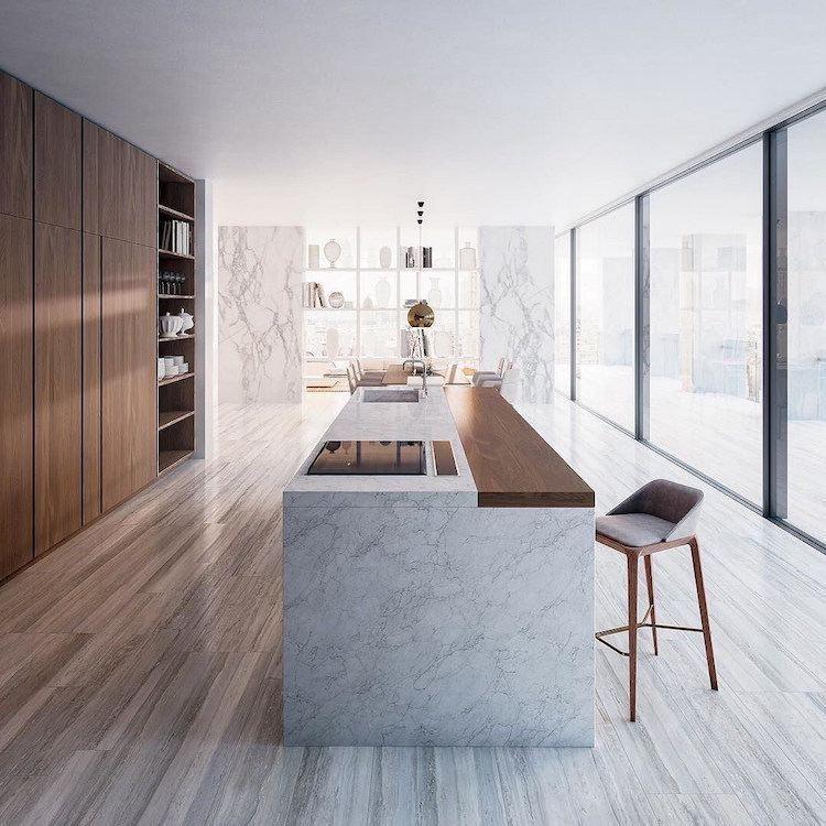 Ilot En Bois: Cuisine-moderne-bois-parquet-gris-marbre-blanc-îlot