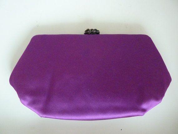 Purple Evening Bag Jeweled Amethyst Rhinestone Clip Closure Signed MM Morris Moskowitz Purple Satin Handbag Bridal Prom Wedding Party Purse