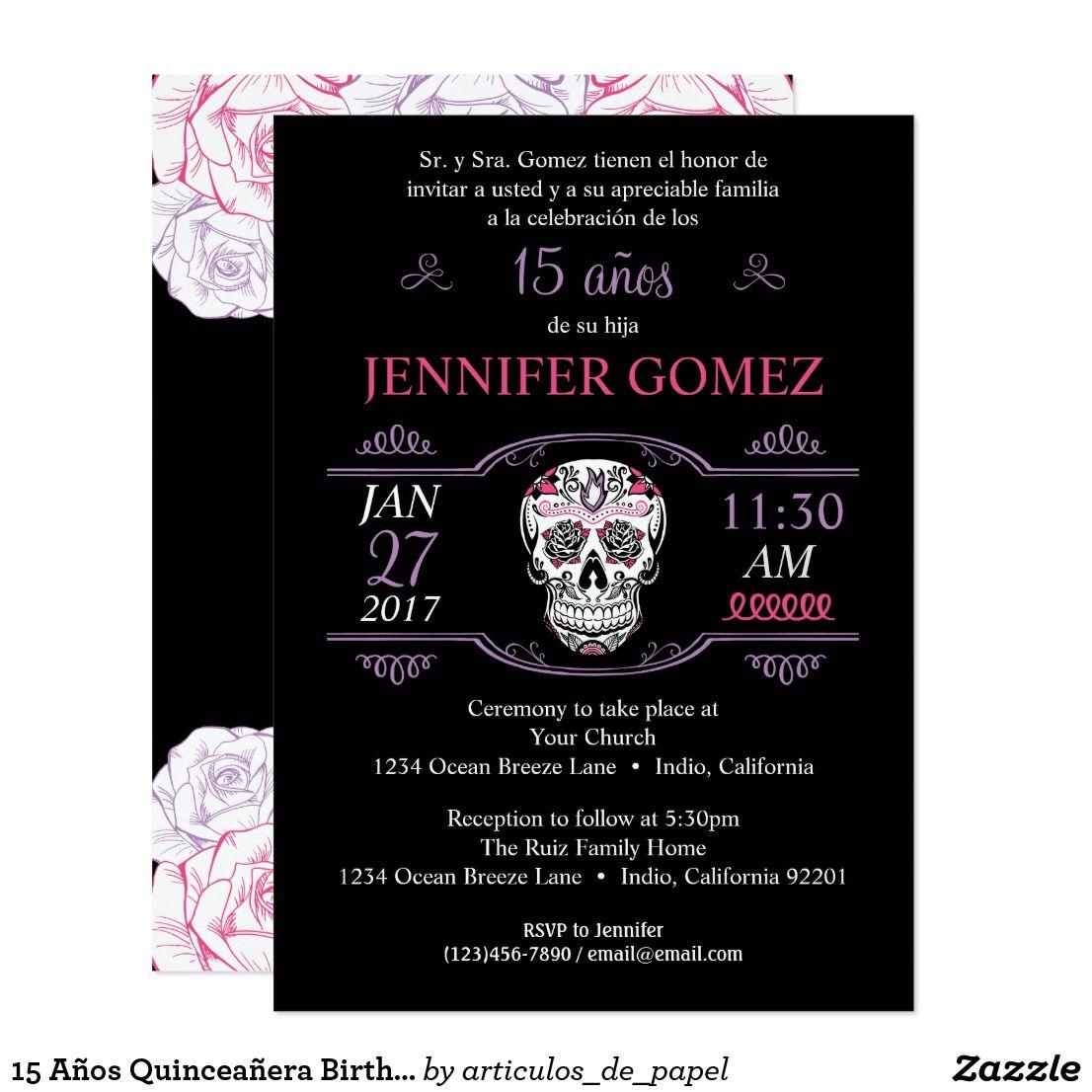 15 Aa Os Quinceaa Era Birthday Sugar Skull Invite Sugar Skull