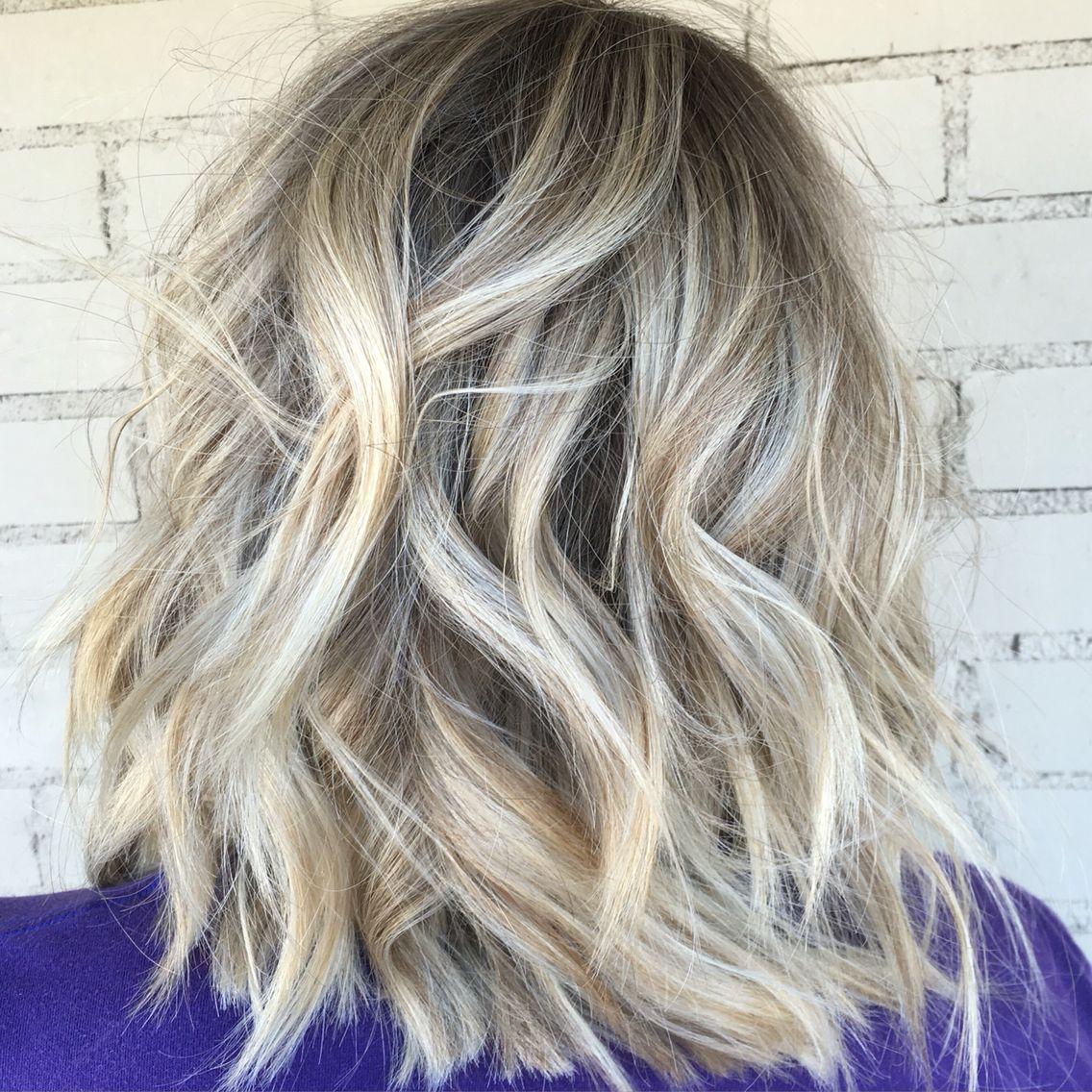 Balayage blonde hair short hair dimensional blondes rooty blonde