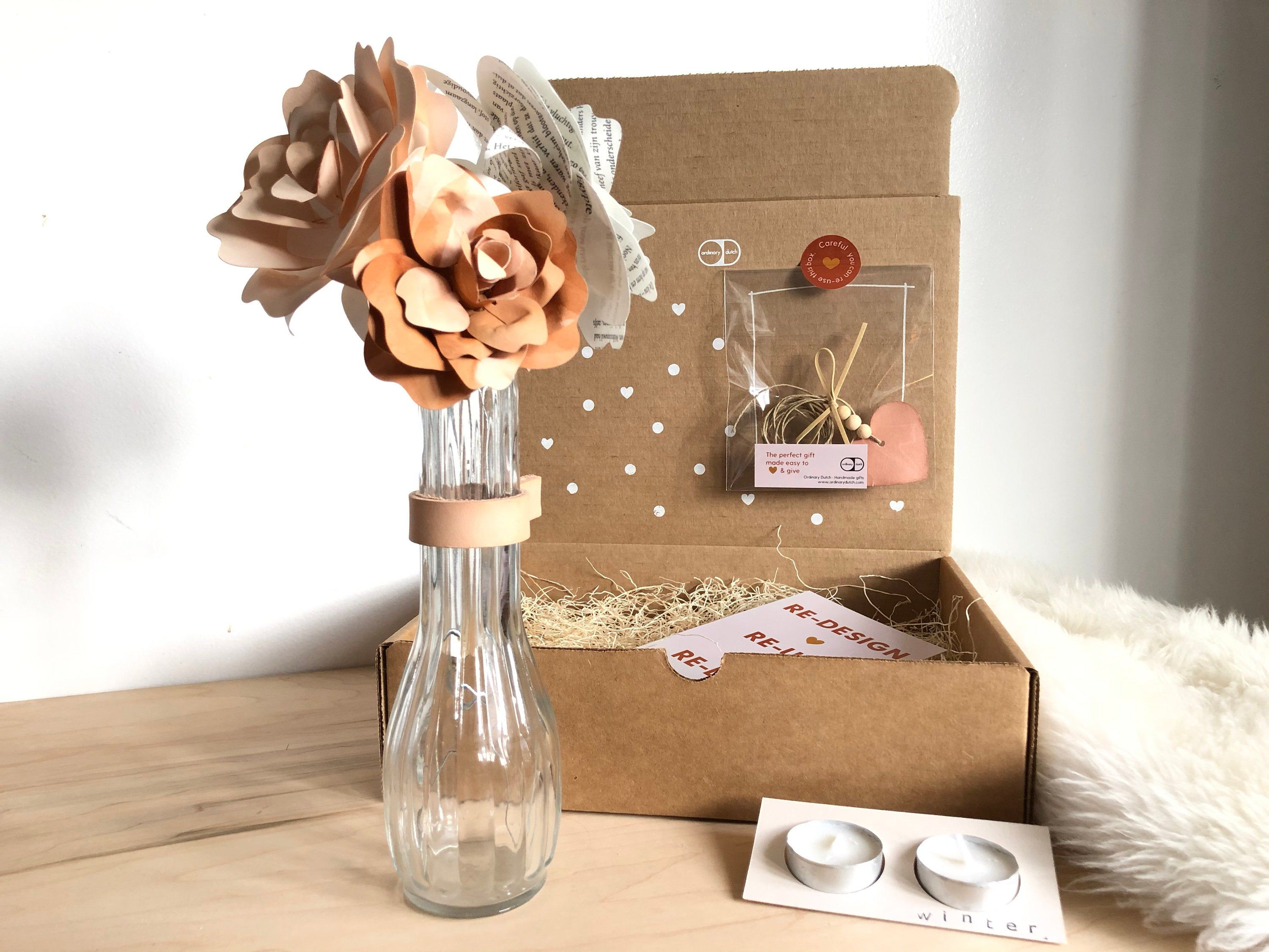 Gift Box Paper Flowers Vase And Candle Present A Summer And Winter Hygge Present In 2020 Paper Flower Bouquet Paper Flowers Paper Bouquet