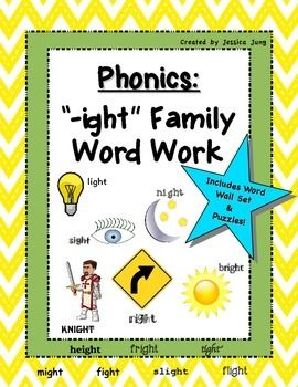 Phonics: '-ight' Family Word Work--includes word wall set!   Word families,  Phonics, Word work
