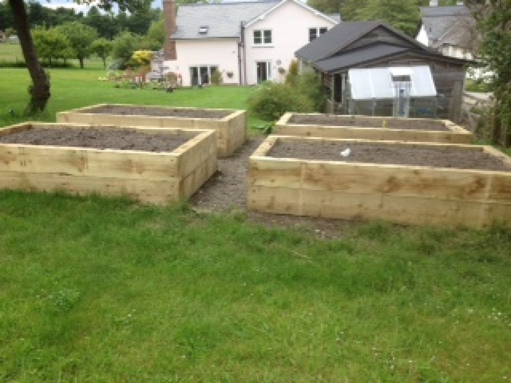 Raised beds built from new railway sleepers for the Cutting Garden ...