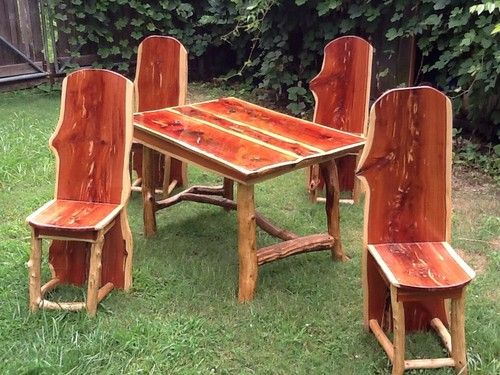 Rustic Dining Room Table and Chairs Aromatic Red Cedar Log Cabin