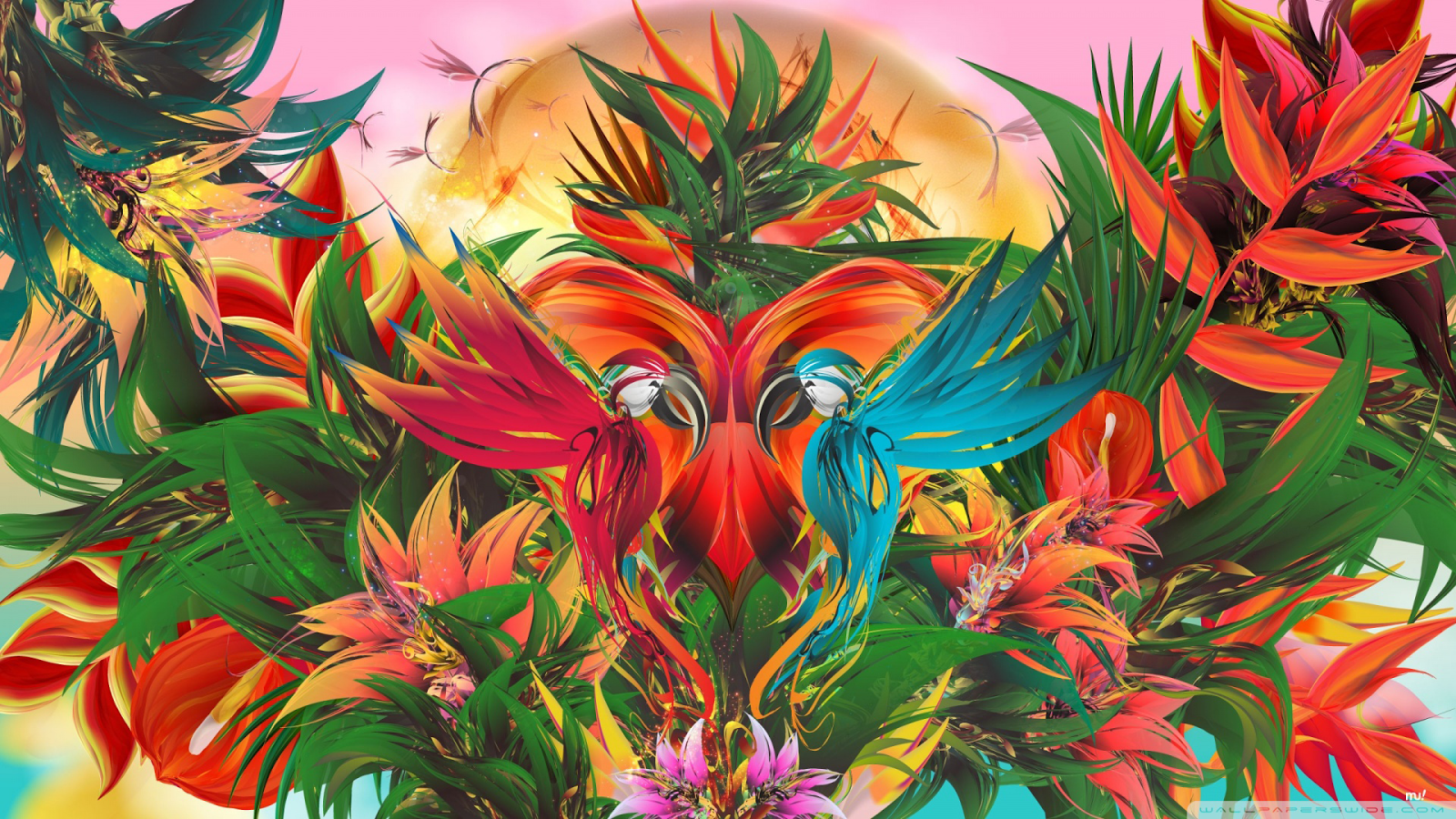 Abstract Tropical Jungle Paradise Illustration Hd Wallpaper 1600x900