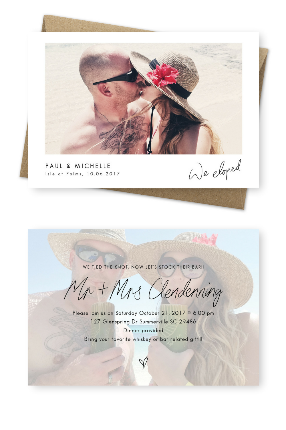 Wedding decorations on the beach october 2018  Gorgeous Wedding Announcement Cards and Elopement Invitation Ideas