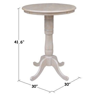 Best Solid Wood Round Pedestal Bar Height Table Washed Gray 400 x 300
