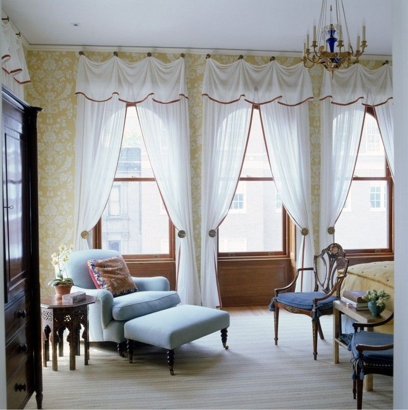 Room White Brown Curtains With Swag Valance