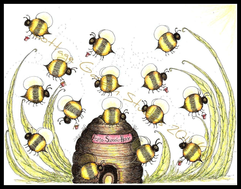 Folk Art Bumble Bees Bee Skep Summer MHA