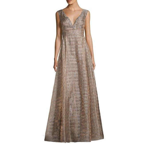 Aidan Aidan Mattox Women\'s Metallic Ball Gown ($296) ❤ liked on ...
