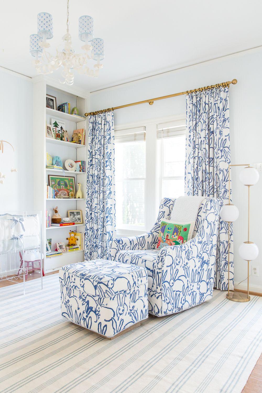 Bunny Fabric Goodnight Moon Pillow Blue White Nursery