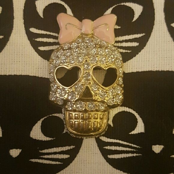 Betsey Johnson Crystal Skull Pin Super cute and girly skull pin, size shown in photos. Betsey Johnson Jewelry Brooches