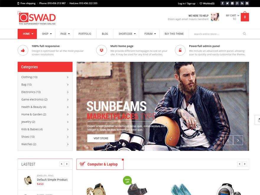 Oswad - Best WordPress eCommerce Theme | WordPress Theme | Pinterest ...