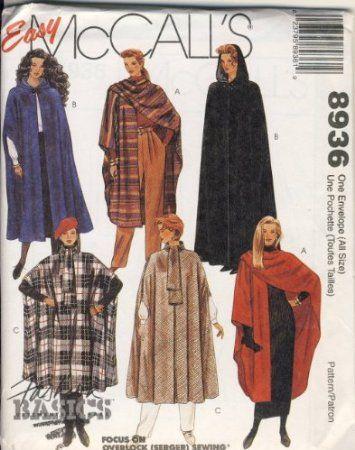 Easy Mccalls 8936 Cape Cloak Wrap Pattern Arts Crafts Sewing A