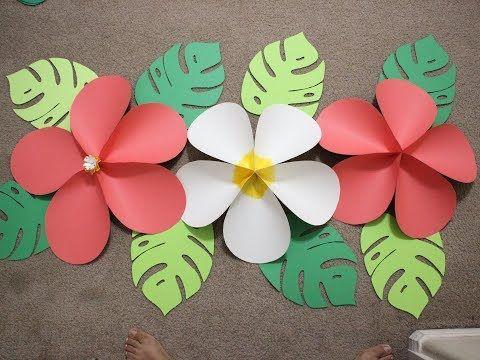 Giant Hawaiian Paper Flower ...Moana Birthday Party Wall - YouTube #tropicalbirthdayparty