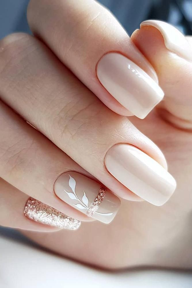 30 Cute Nail Design Ideas For Stylish Brides ❤ nail design wedding nude beige with white leaves and glitter gira.nails #weddingforward #wedding #bride #weddingnails #naildesign