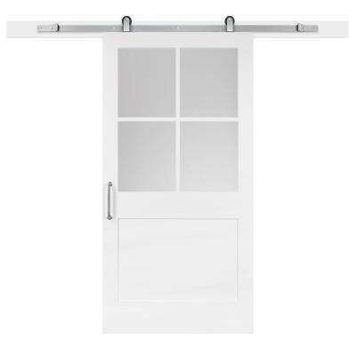 Barn 42 In X 84 White Collar 1 Panel 2 Lite Privacy