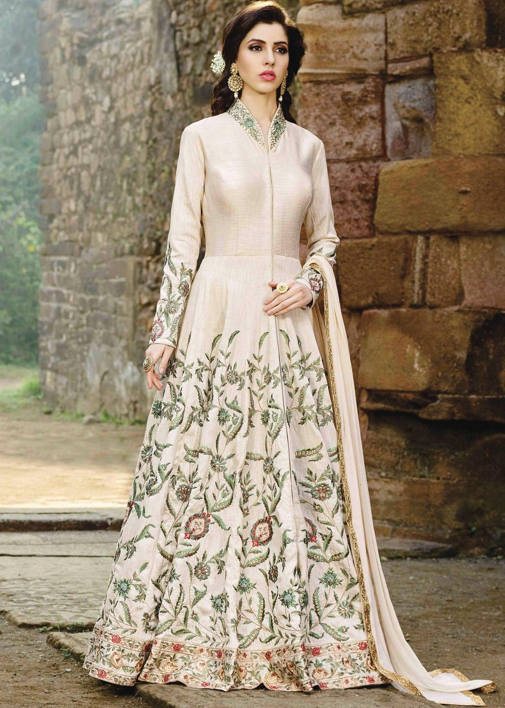 64c45b9bfd  Cream colored  abaya style  kameez in art  silk embellished with intricate   resham  embroidery and stone work.