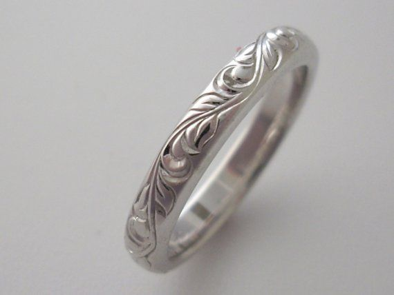 hand engraved vine and leaf wedding band and anniversary band 3mm 14k white gold band made - Leaf Wedding Ring