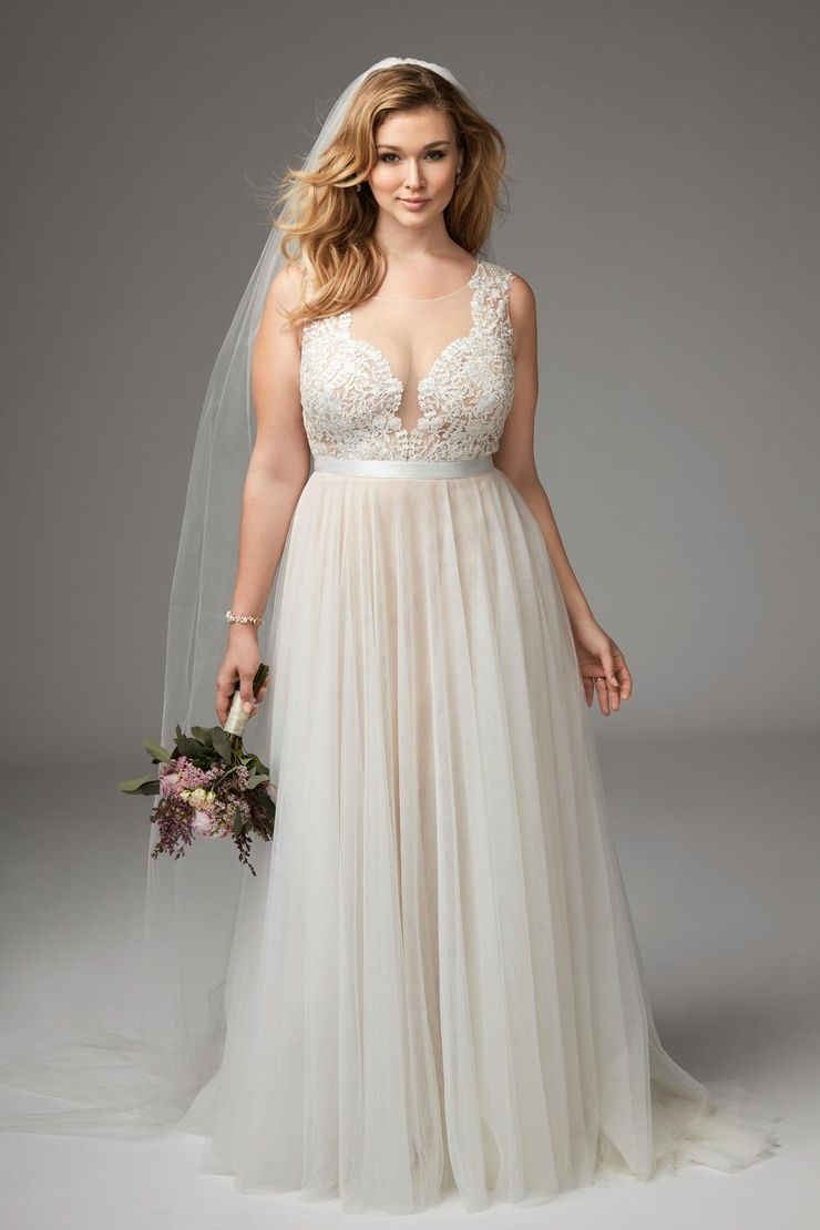 Girl With Curves featuring Plus size wedding dress from Marnie ...