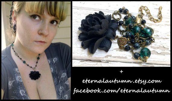 I n s i d i o u s. .Lotus flower pendant NECKLACE in Black & Green - by EternalAutumn, $40.00