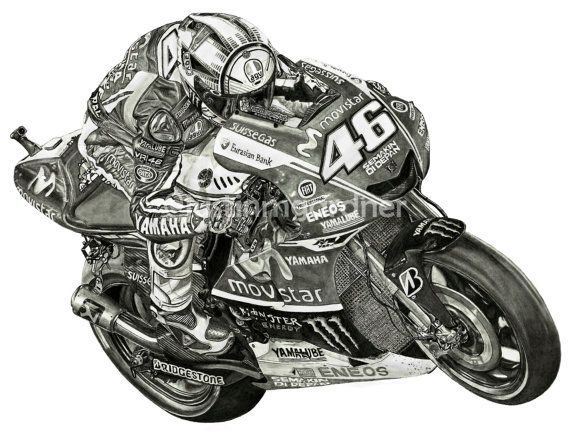 Valentino Rossi Motorcycle Drawing Art Print VR46 MotoGP
