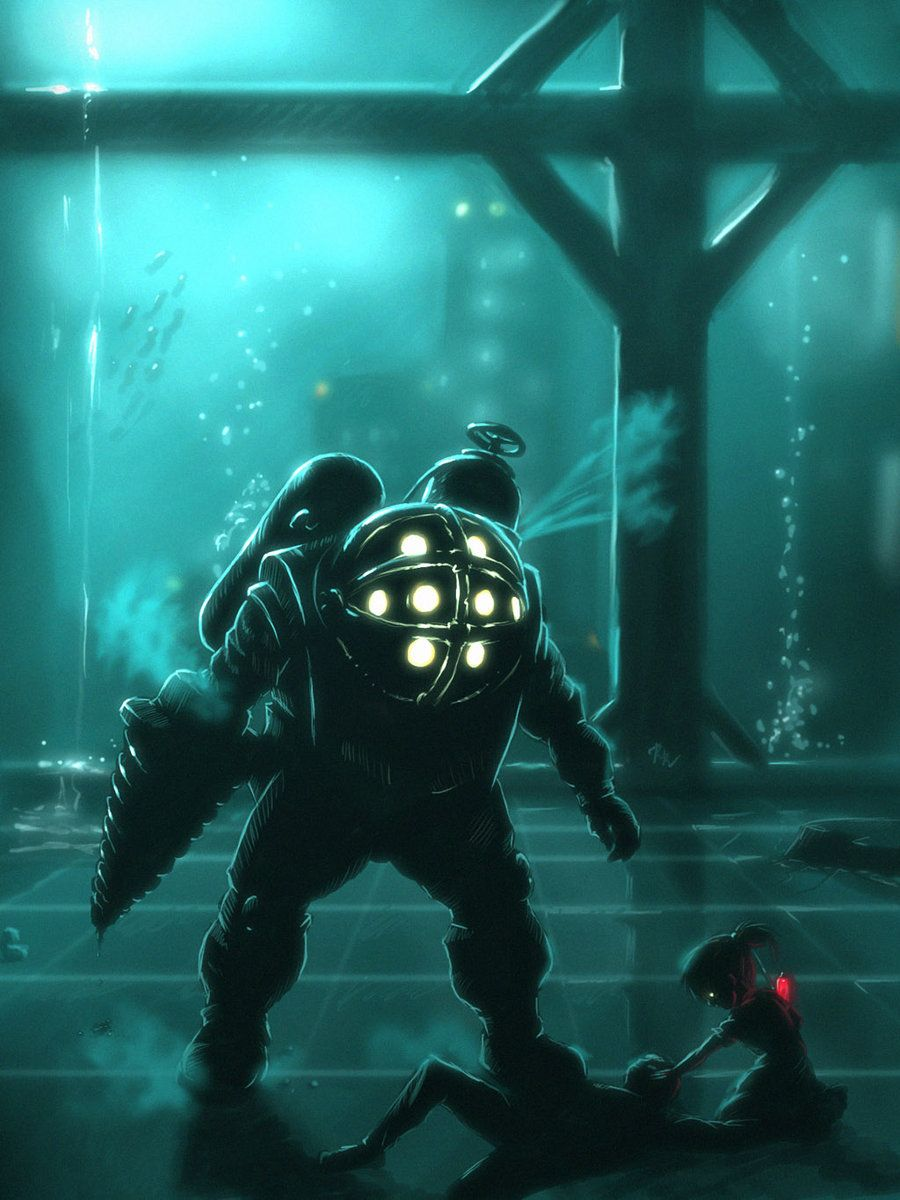 Just another day in paradise... #fanart BioShock - Big Daddy and Little Sister