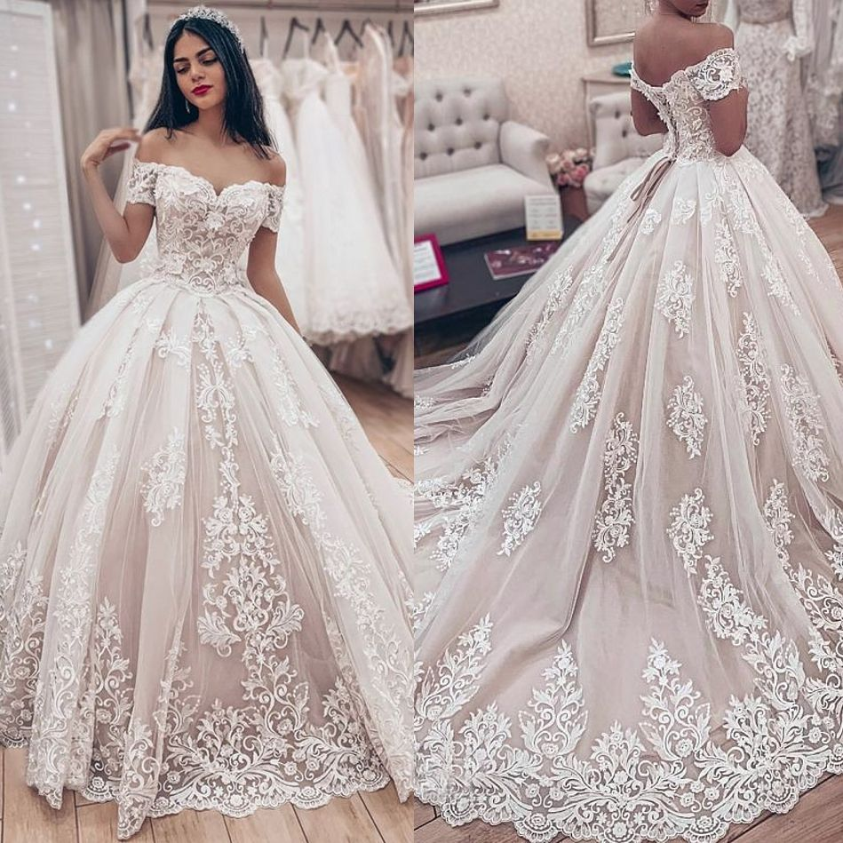 Elegant Off The Shoulder Lace Ball Gown Wedding Dresses In 2020 Ball Gowns Wedding Ball Gown Wedding Dress Wedding Dresses Lace Ballgown