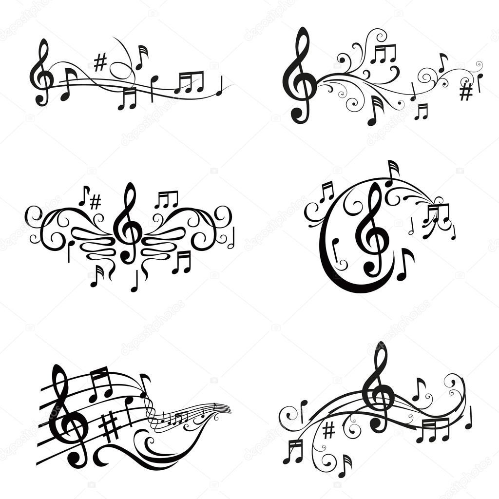 Conjunto De Ilustração De Notas Musicais - Vetor