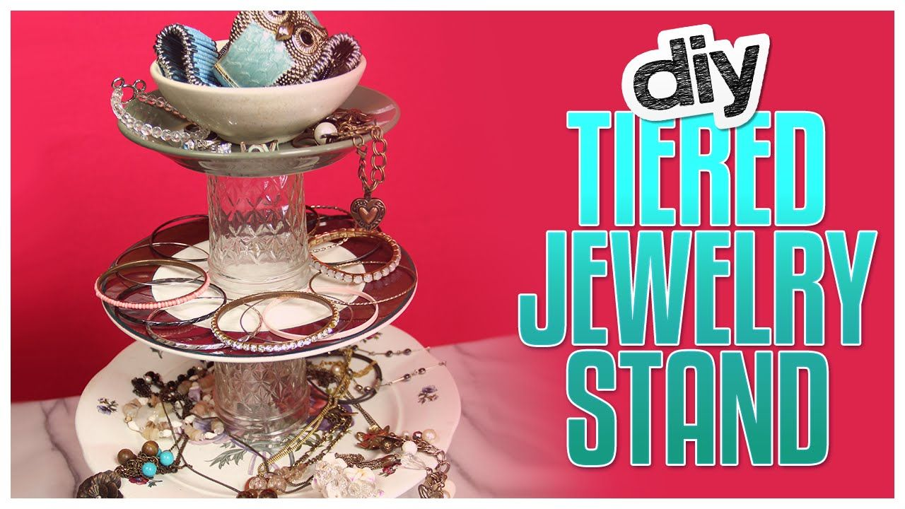 DIY Tiered Jewelry Stand Made From Household Stuff! - Do It, Gurl