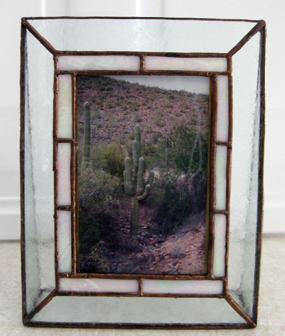 Stained Glass Picture Frame, Mother of Pearl Border