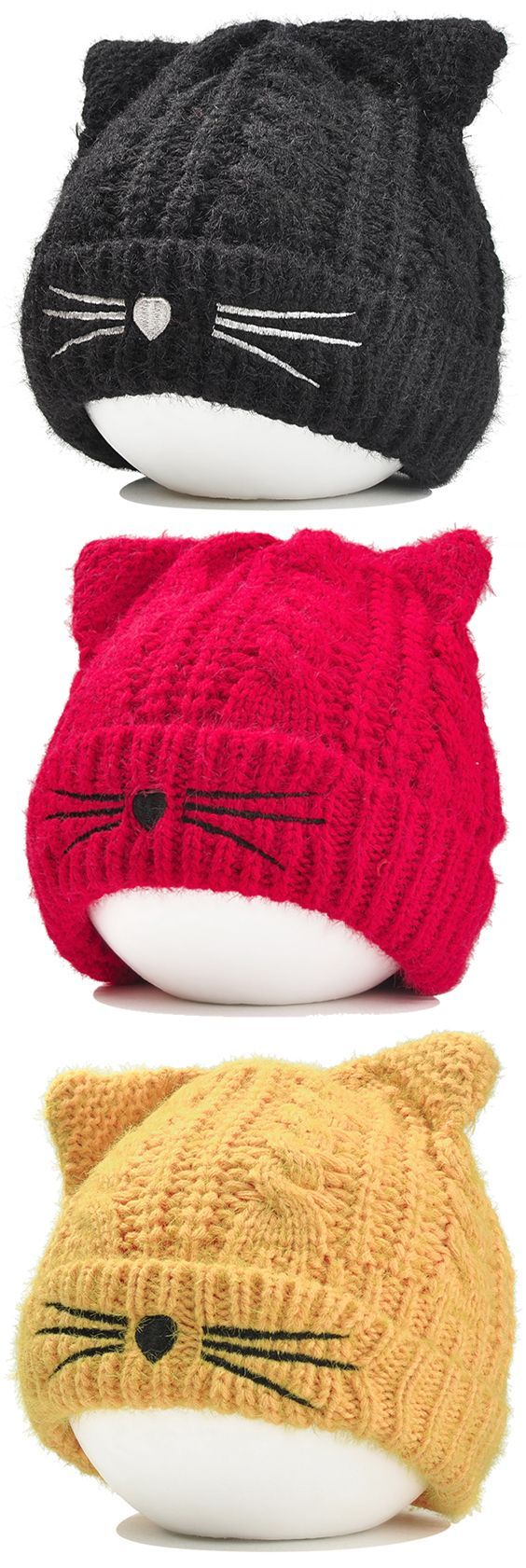 Funny Kitty Ear Decoration Knitted Lightweight Beanie.FREE SHIPPING ...