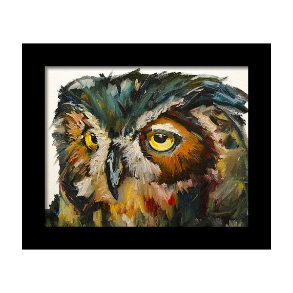 Artcard Original art Frammed Picture Trio of Owls Watercolour Print