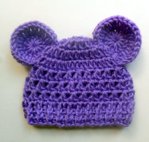 Crochet Baby Hat with Ears Infant Boy or Girl Crochet by Karenisa, $15.00