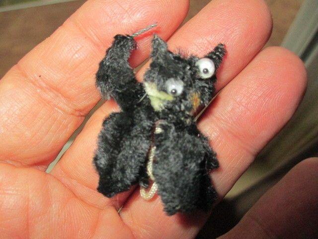 Vintage Halloween Chenille Scruffy Black Cat / Very Nice!