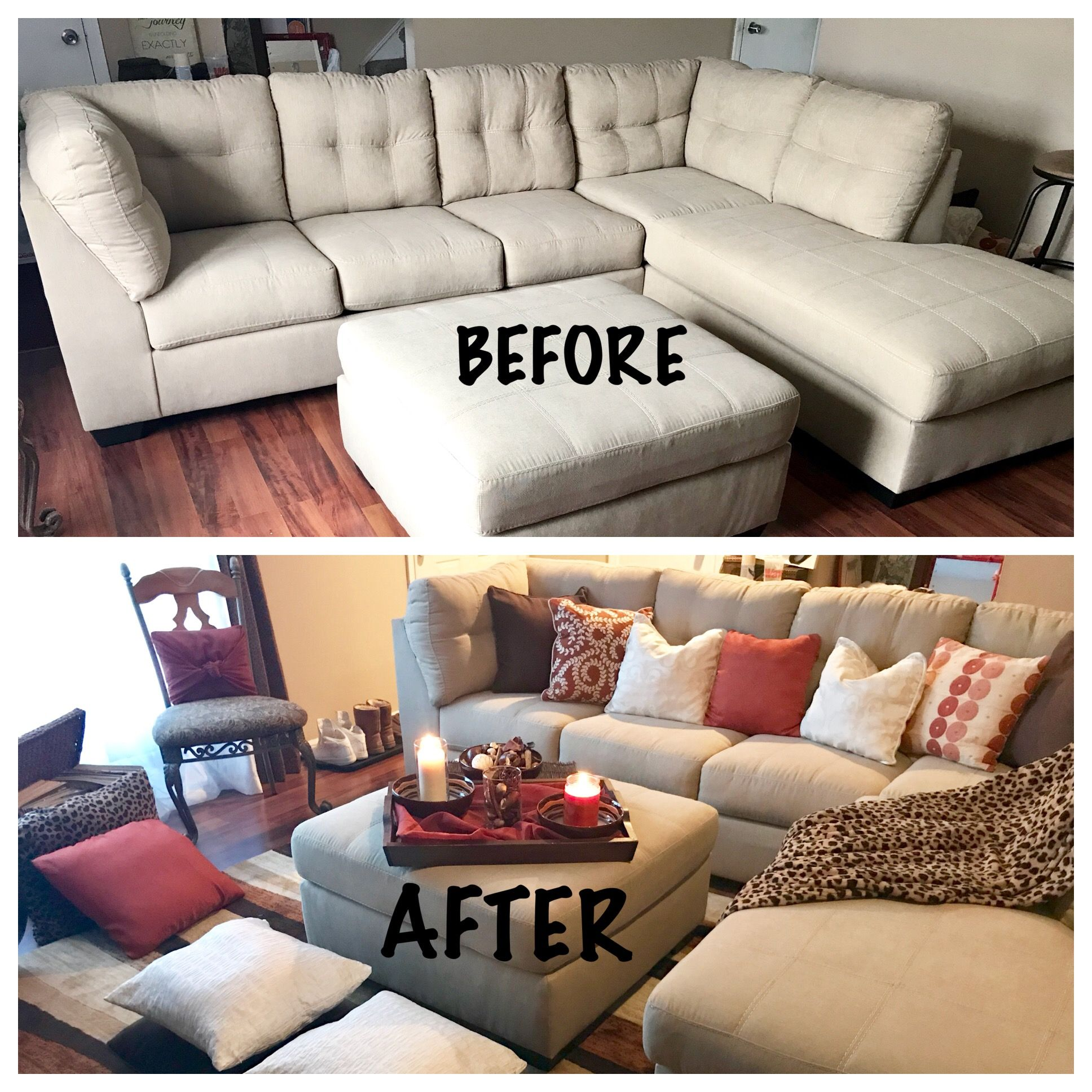 Decorated My Townhouse Living Room With Tan Brown Orange Rust