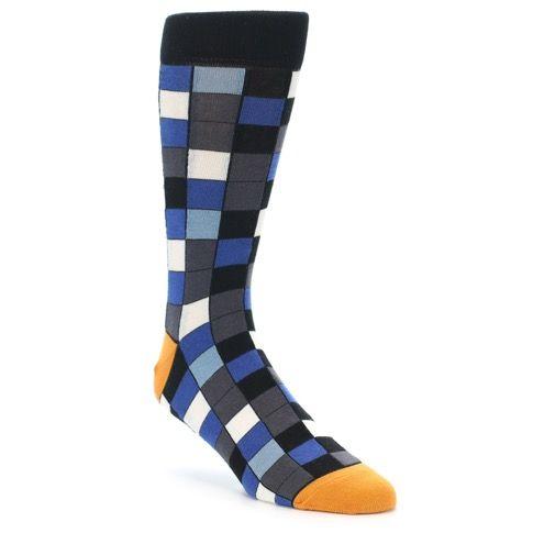 Black Blue Grey Checkered Men's Dress Socks | boldSOCKS