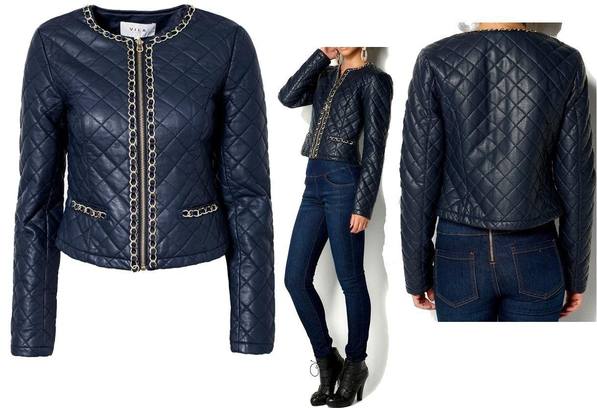 Vila Eko Skora Pikowana Granat Zlote Lancuchy L 40 6540302044 Oficjalne Archiwum Allegro Bomber Jacket Jackets Fashion