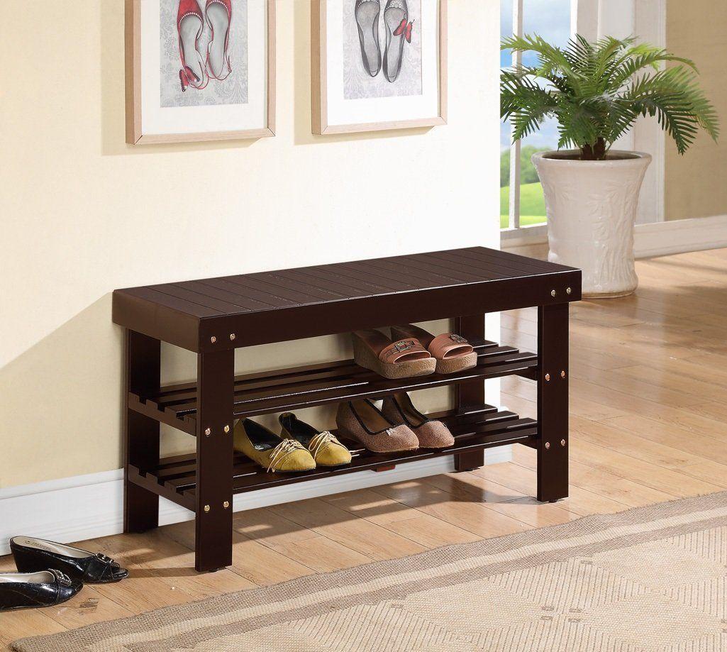 Amazon.com: Espresso Finish Solid Wood Storage Shoe Bench Shelf Rack:  Furniture U0026
