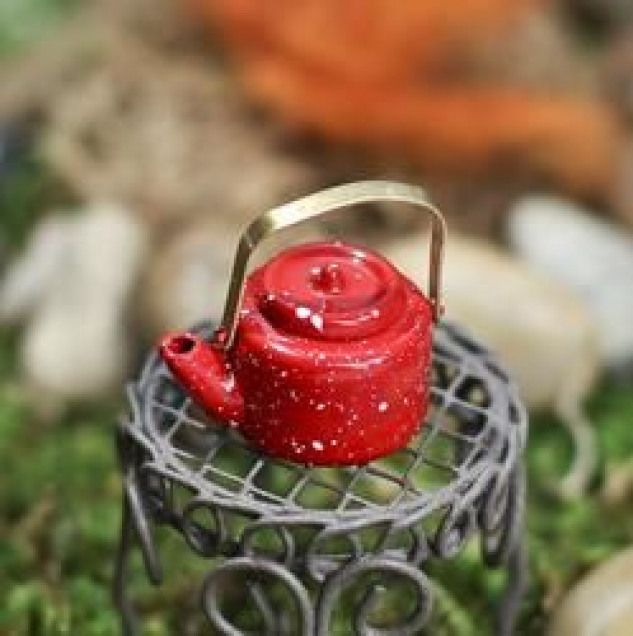 Photo of Miniatur rot Emailware Wasserkocher – Küche Miniaturen – Puppenhaus Miniaturen – Do …
