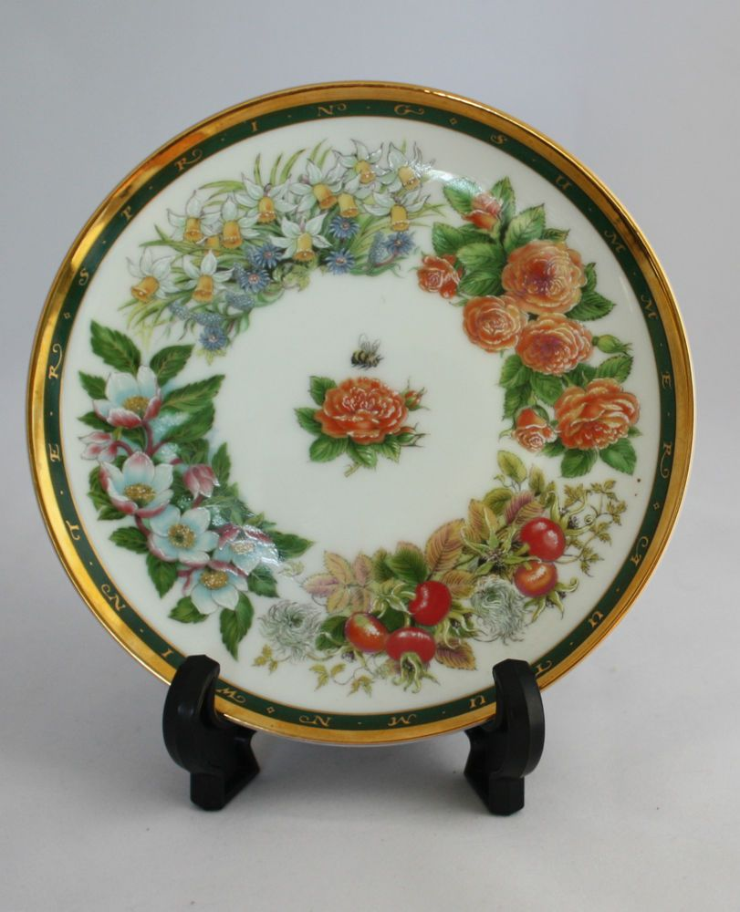 22k Gold Trimmed 4 Seasons Decorative Wall Plate designed Gill Tomblin Japan VGC : gold decorative plates - pezcame.com