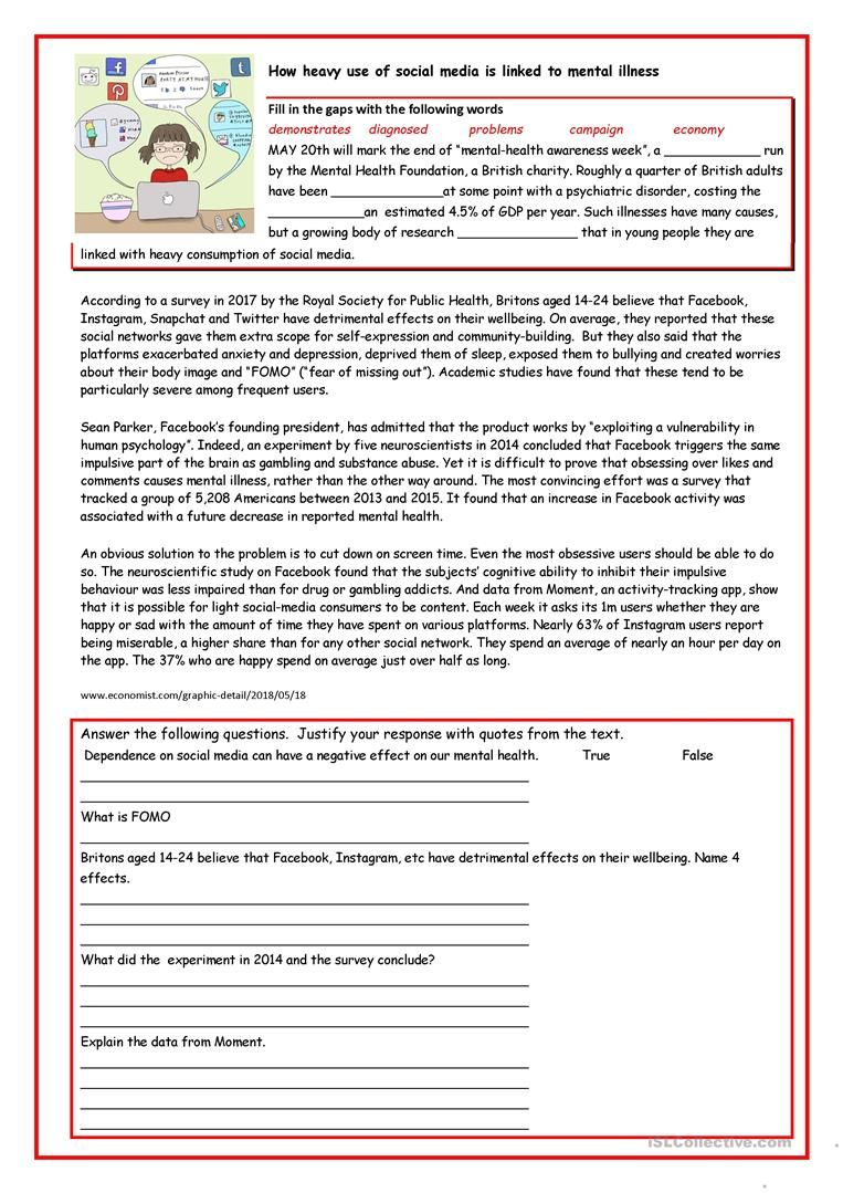 Social Media And Self Esteem English Esl Worksheets For Distance Learning And Physical Classrooms Social Media Worksheet Social Media Self Esteem [ 1079 x 763 Pixel ]