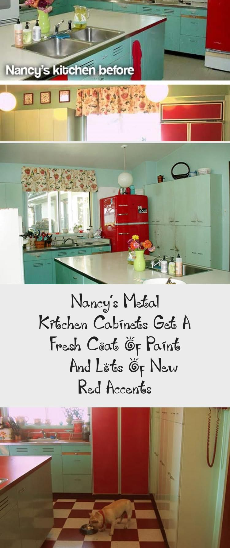 Red Kitchen Counter Tops The Cottage Of My Childhood Has Red Linoleum Counters With Steel Bands In 2020 Metal Kitchen Cabinets Interior Design Accents Metal Kitchen