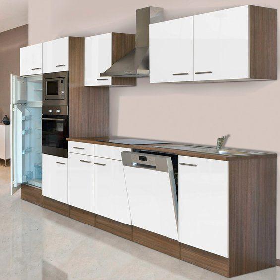 Respekta küchenzeile kb340eywmigke 340 cm weiß seidengl eiche york nachbildung kaufen bei obi