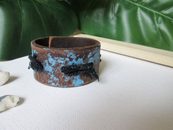 Mens rustic brown blue recycled leather cuff Mens by @soclichejewelry  €21.00